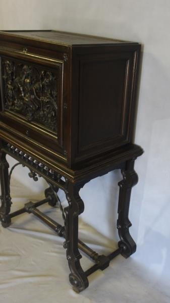 Antique Vergueno Style Highly Carved Desk On Stand - 5