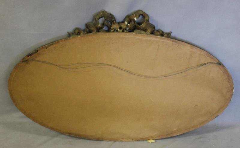 Antique Giltwood and Gessoed Oval Ribbon Mirror. - 4