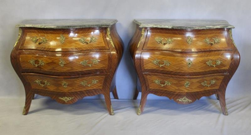 Pair of Swedish Marble Top Bombe Parquetry