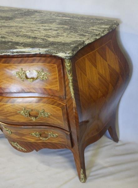 Pair of Swedish Marble Top Bombe Parquetry - 3
