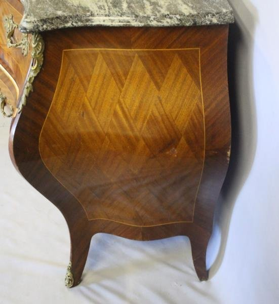 Pair of Swedish Marble Top Bombe Parquetry - 4