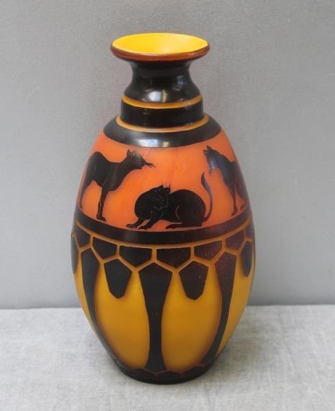 Le Verre Francais Cameo Glass Vase.