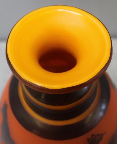 Le Verre Francais Cameo Glass Vase. - 4