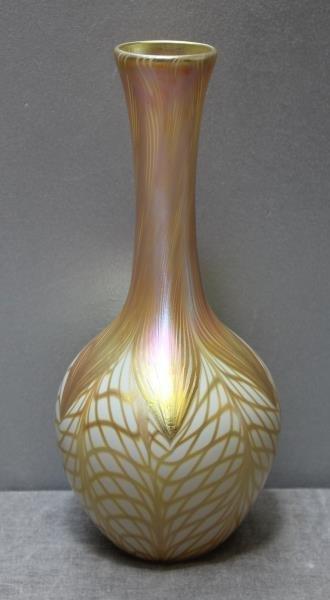 Signed Quezal Art Glass Vase.