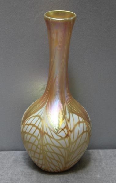 Signed Quezal Art Glass Vase. - 2