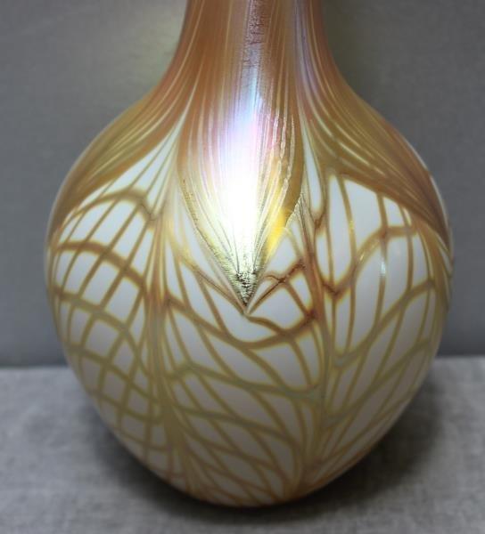 Signed Quezal Art Glass Vase. - 3