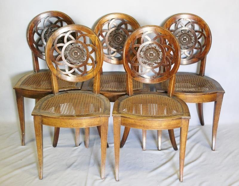 Set of 5 Antique Italian ? Carved Dining Chairs.