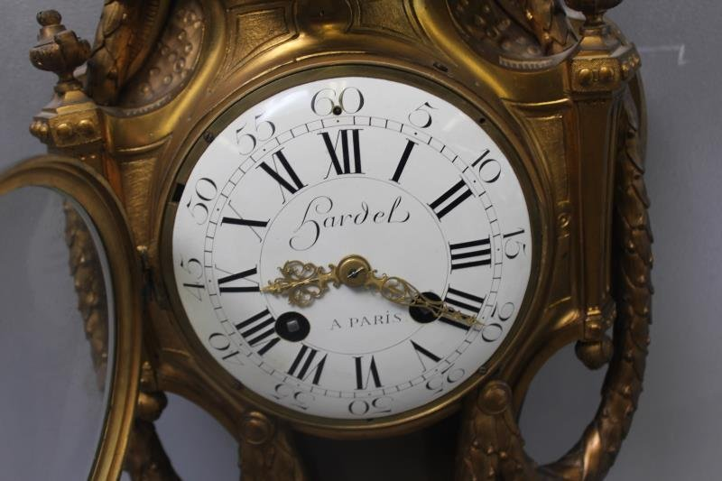 Quality Bronze Cartel Clock With Enamel Face. - 2