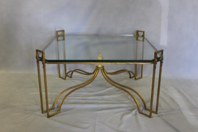 Gilt Metal and Glass Top Coffee Table with Tassel.