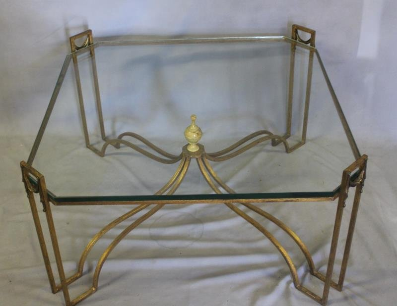 Gilt Metal and Glass Top Coffee Table with Tassel. - 2