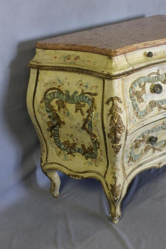 Antique Venetian Style Paint Decorated ,Carved - 2