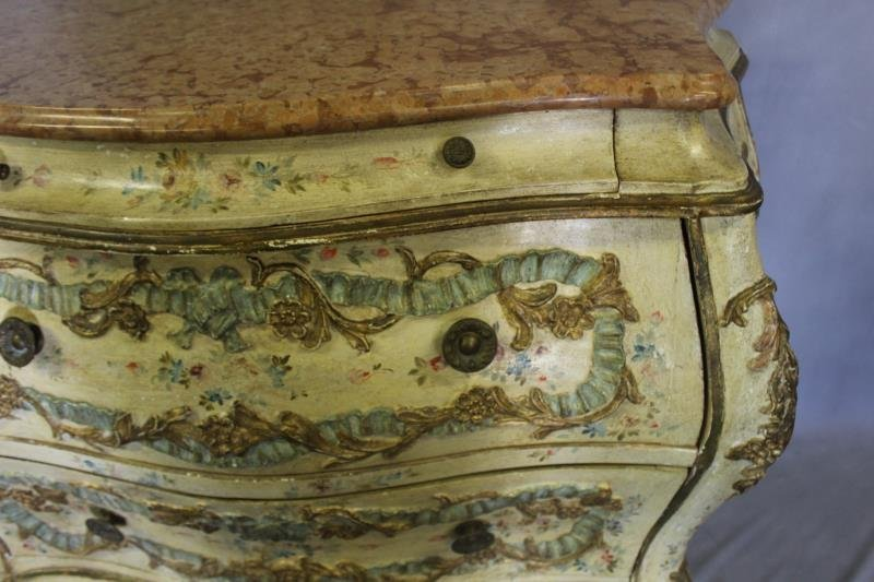 Antique Venetian Style Paint Decorated ,Carved - 3