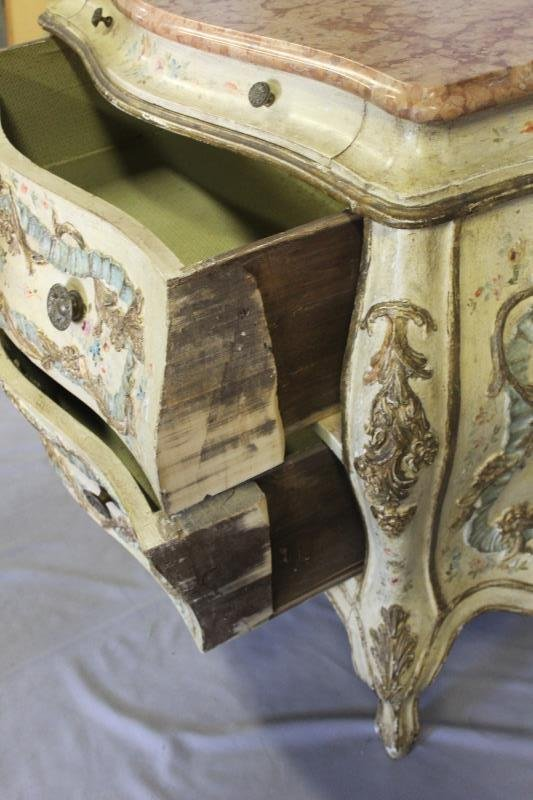 Antique Venetian Style Paint Decorated ,Carved - 4