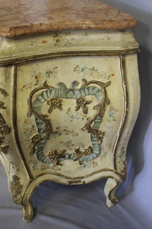 Antique Venetian Style Paint Decorated ,Carved - 5