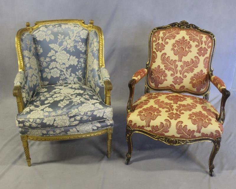 Finely Carved Louis XV1 Bergere & A Paint