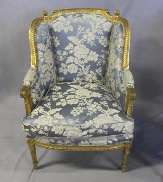 Finely Carved Louis XV1 Bergere & A Paint - 2