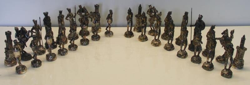 STERLING. Sam Philipe Figural Chess Service.