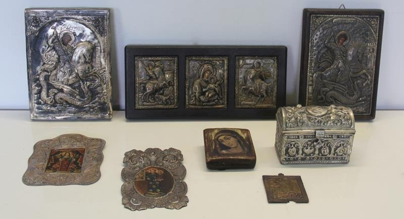 SILVER. Grouping of Russian Icons.