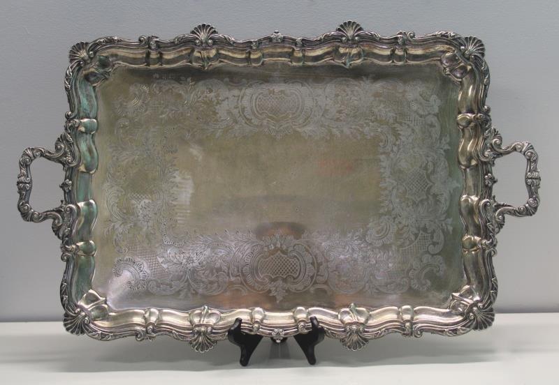 SILVER. Antique English Silver Elkington & Co Tray