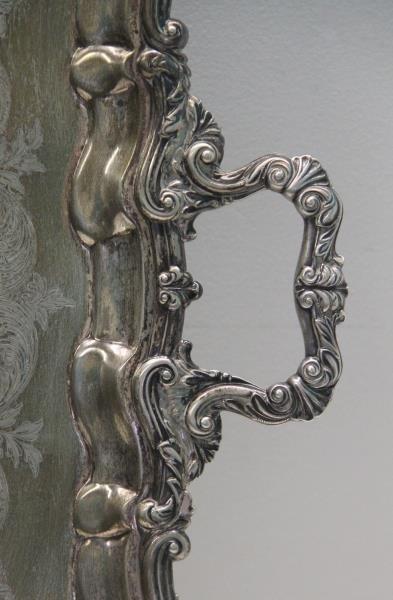 SILVER. Antique English Silver Elkington & Co Tray - 2
