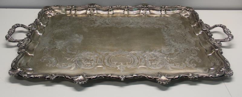 SILVER. Antique English Silver Elkington & Co Tray - 3