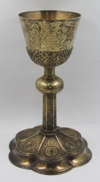STERLING. Large Gilded Silver Chalice.