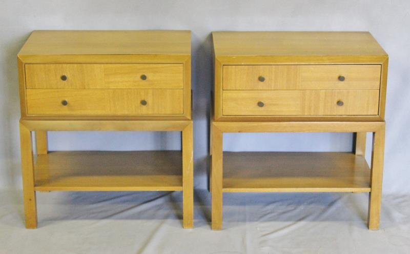 Midcentury Pair of Two Drawer End Tables.