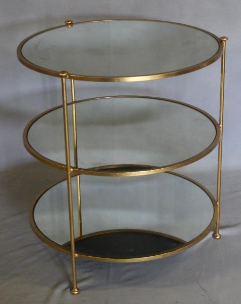 Midcentury Style Mirror Top Occasional Table
