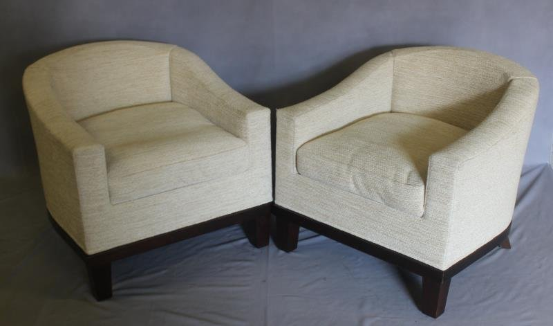 Pair Of Midcentury Style Upholstered Club Chairs .