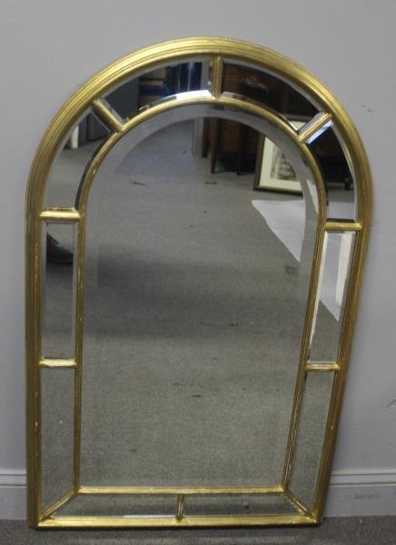 Gilt Midcentury Arch Top Mirror Signed