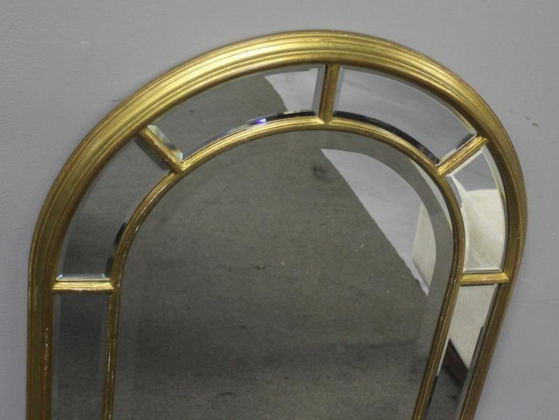 Gilt Midcentury Arch Top Mirror Signed - 2