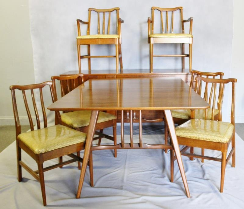 Midcentury Dining Set with 6 Chairs and Sideboard.