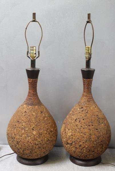 Midcentury Pair of Cork Teardrop Table Lamps.