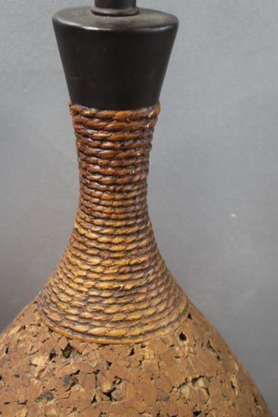 Midcentury Pair of Cork Teardrop Table Lamps. - 2