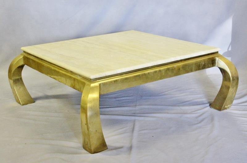 Midcentury Brass & Marble Top Coffee Table.