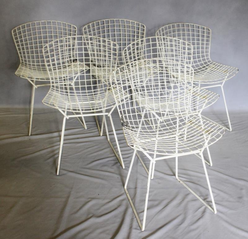 Midcentury Set of 6 Bertoia for Knoll Wire Chairs.