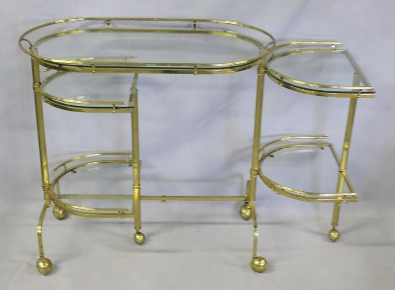 Brass Extending Teacart with Glass Inserts. - 2