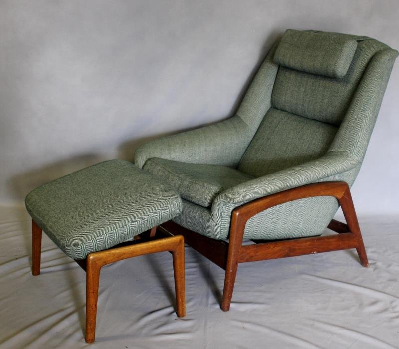 Midcentury Dux Lounge Chair and Ottoman.