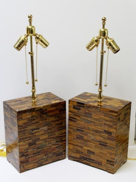 Pair of Tessalated Tigers Eye Table Lamps.