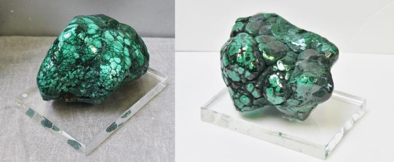 2 Piece Natural Malachite Specimen on Lucite Base