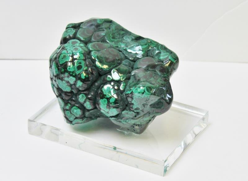 2 Piece Natural Malachite Specimen on Lucite Base - 2
