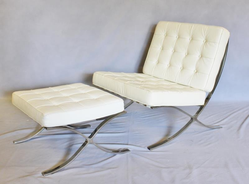 White Upholstered Barcelona Style Chair.