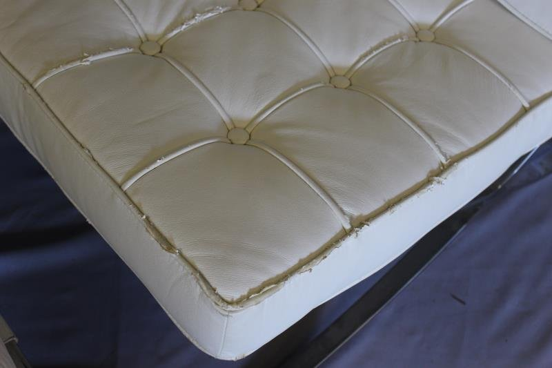 White Upholstered Barcelona Style Chair. - 2