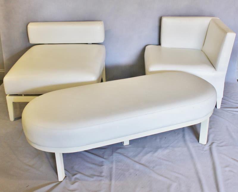 Contemporary White Upholstered Furniture Lot.