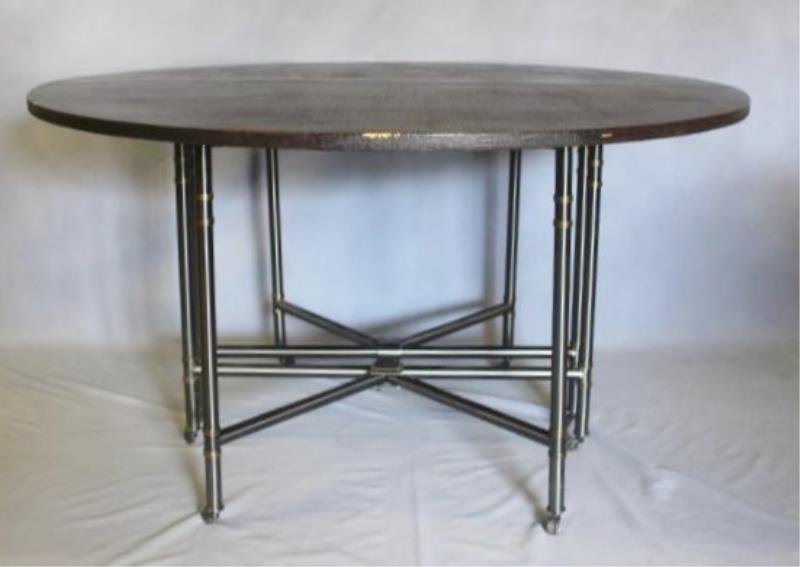 Linen Wrapped Table With Gun Metal Base.