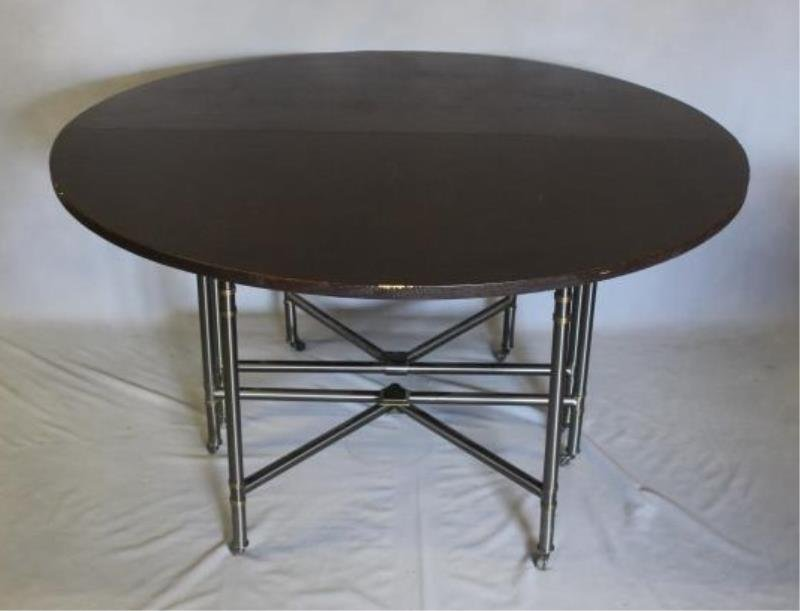 Linen Wrapped Table With Gun Metal Base. - 2