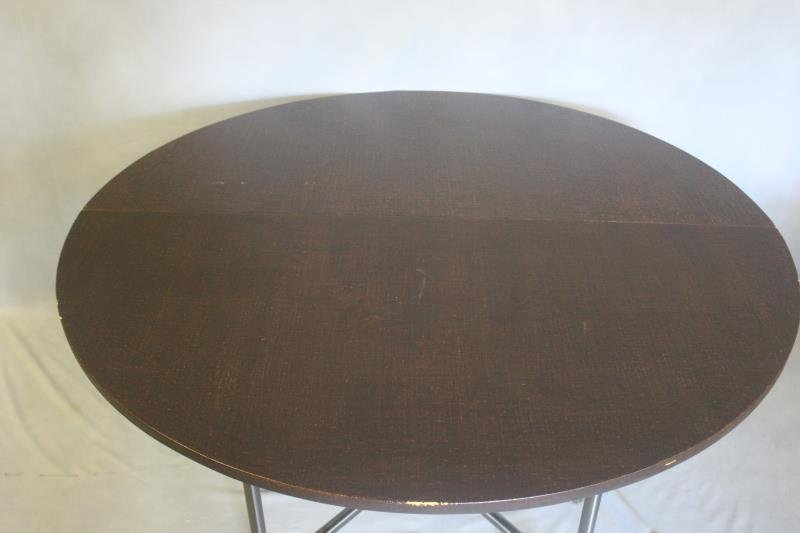 Linen Wrapped Table With Gun Metal Base. - 3