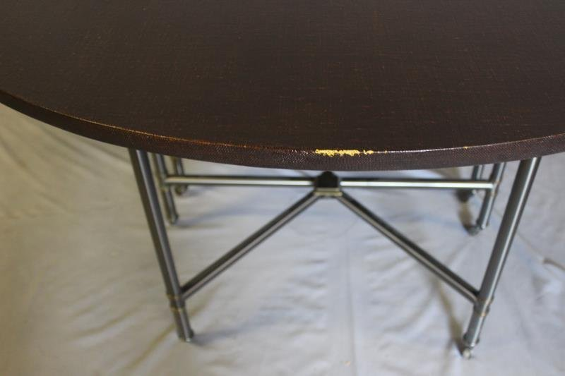 Linen Wrapped Table With Gun Metal Base. - 4