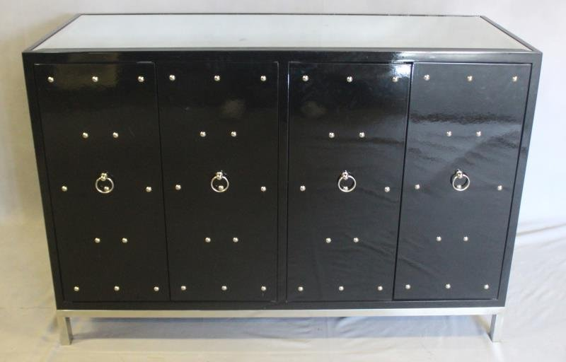 Midcentury Style Black Studded & Mirrored Cabinet.