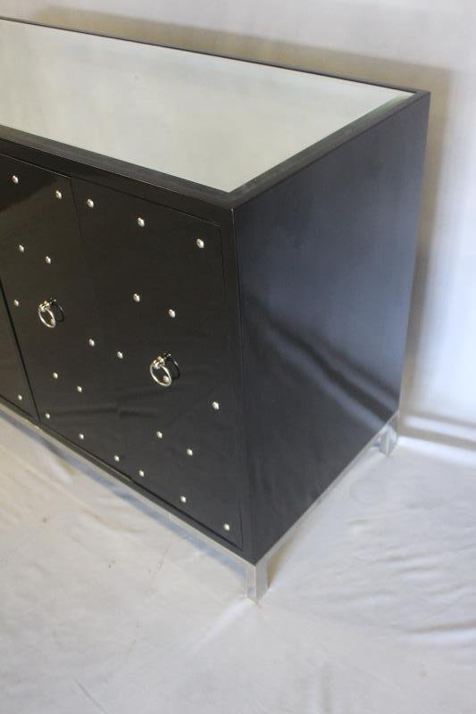 Midcentury Style Black Studded & Mirrored Cabinet. - 2